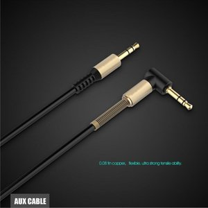 Wholesale 3 mm Auxiliary Audio Cable Cord Flat Degree Right AUX Cable with Steel Spring Relief for Headphones iPods iPhones Home Car Stereos
