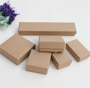 Wholesale XS Pics Vintage Brown Kraft Paper Box Variety Sizes Bracelet Necklace Ring Earrings Jewelry Packaging Boxes EMS