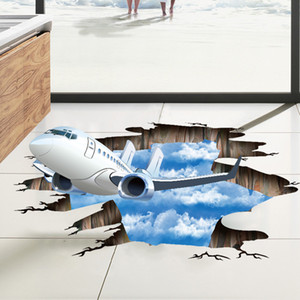 Wholesale 3D Blue Sky Airplane Wall Stickers Removable Vinyl Mural Wall Decor For Living Room Floor Background Decoration Wallpaper