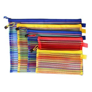 Wholesale a4 folder zipper resale online - A4 Size cm Rainbow Stripe Zipper Folder Documents File Organizer Storage Bag For Papers Cosmetic ZA3944