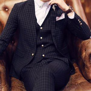 Wholesale- 2017 Slim Fine Plaid Formal Men Suits 3 Pieces Set Suit One Button Fashion Weeding Groom Suits(Jacket+Pant+Vest+Handkerchiefs)