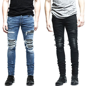 Wholesale- New Mens denim pants clothing zipper skinny biker jeans men slim fit justin bieber jean Vintage ripped blue denim men jeans man
