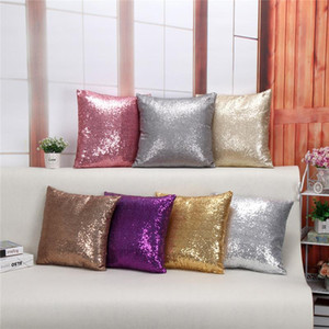 Wholesale purple pillows resale online - European Color Sequins Pillow Case Cover Purple Champagne Gray Gold Silver Brown Pink polyester Decorative Sofa Cushion Covers