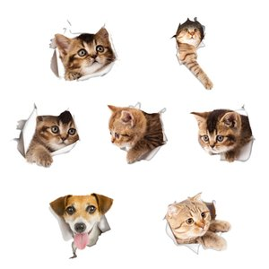 Wholesale Waterproof Cat Dog D Wall Sticker Hole View Bathroom Toilet Living Room Home Decor Decal Poster Background Wall Stickers
