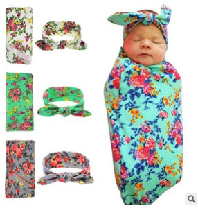Wholesale Newborn Baby Swaddle Blankets Headband Set With Bunny Ear Headbands Swaddle Wrap Cloth with Floral Pattern Head bands