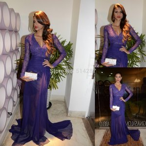 Wholesale Purple Lace Chiffon Split Long Sleeve Mermaid Evening Formal Dresses Sexy Fashion V neck Full length Elegant Occasion Prom Gown