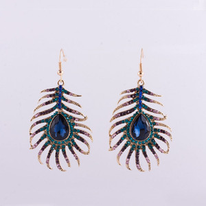 Wholesale 2017 new Trendy Multicolor Rhinestone Peacock Feather Shape Gold Color Zinc Alloy New Designer Drop Earrings