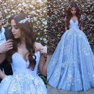 Light Sky Blue Off The Shoulder Arabic Prom Dresses Long Appliques Sexy Backless Prom Party Dress Evening Wear Plus Size Formal Gowns on Sale