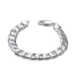 Wholesale Fashion Men s Cuban Link Chain Bracelet Silver Plated Copper Curb Link mm Width quot Length Silver Biker Mens Jewelry
