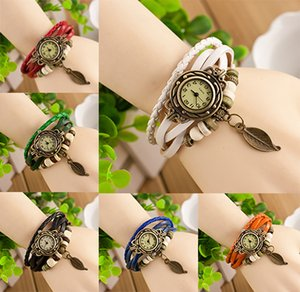 New types Vintage Leaf pendant Quartz Bracelet Bangle Retro Lovely Womens Girl Weave Wrap Around Leather Watch Available Supply Hot Sale
