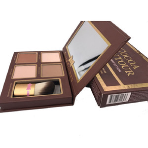 Wholesale New COCOA Contour Kit Highlighters Palette Nude Color Cosmetics Face Concealer Makeup Chocolate Eyeshadow with Contour Buki Brush in stock