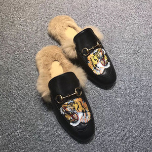 Wholesale Famous velvet Prince town Muller woman leather rabbit fur slippers women wool loafers slipper lady mules casual shoes with box Many Colors