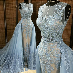 2019 Fashion Appliqued Beaded Mermaid Evening Dresses with Detachable Train Cheap From China Sheer Neck Elie Saab Arabic Prom Formal Gowns