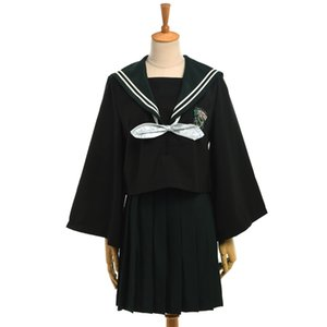 Wholesale Harry Potter Cosplay Girls Casual Slytherin JK Uniform Set Black Shirt Tops with Bow Tie Green Pleated Skirt Outfit