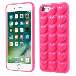 Wholesale For iphone X Plus D Peach Love Heart Case Soft Silicone Jelly Phone Cover Cute Back Shell with Lanyard Hang Rope String NEW Arrival