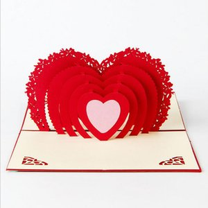 Wholesale 3D Greeting Cards Thank You Card Handmade Pop Up Heart Shape Paper Cut Valentines Mother s Day Christmas Gift Card With Envelope