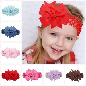 Wholesale 20 Color Baby Big Lace Bow Headbands Girls Cute Bow Hair Band Infant Lovely Headwrap Children Bowknot Elastic Accessories Butterfly Hair