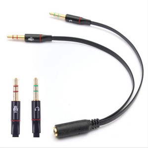 Wholesale 3 mm Female to male Headphone Earphone Audio Cable Mic Splitter Adapter Connected Cord to Laptop PC