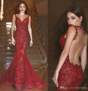 Wholesale New Arabic Burgundy Mermaid Prom Dresses Charming Red Long Sequins Sheer Crew Neck Lace Applique Formal Illusion Back Evening Gowns