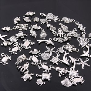 Wholesale Sweet Bell Mixed Antique silver mini Ocean Dolphin Shell Charms Pendant Jewelry Making Diy Charm Handmade Crafts H3003