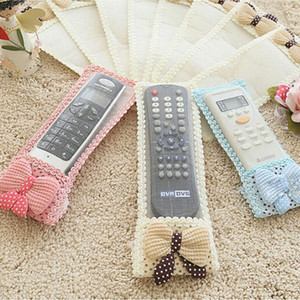 Wholesale Lovely Bowknot Lace Remote Control Dustproof Organizer Storage Bag TV Air Condition Cover Textile Protective Bag Size Color