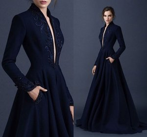 2018 New Brand Navy Blue Evening Gowns Long Sleeves For Winter Deep V-neck Floor Length Long Embroidery Evening Dresses on Sale
