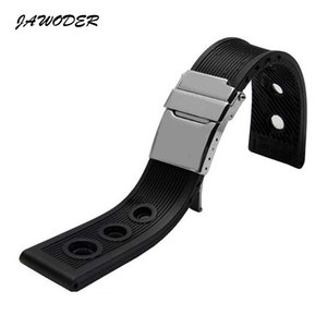 Wholesale JAWODER Watchband mm mm Black Waterproof Diving Silicone Rubber Watch Band Strap Silver Stainless Steel Clasp for B R E Watch