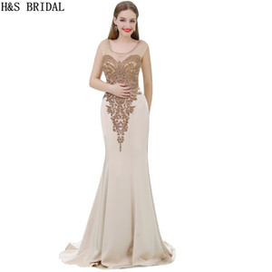 vestido de noche espalda desnuda al por mayor-Sheer Mermaid Gold Beaded vestidos de noche Illusion Hollow Back lentejuelas Nude Color largo vestidos de noche formal Prom Vestidos B066