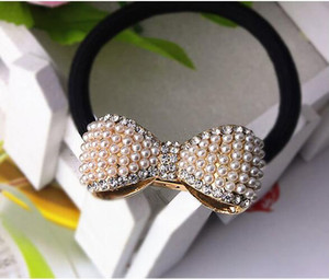 Love Heart Crystal Pearl Bowknot Hair Rubber Bands Women Girls Luxury Elastic Hair Rope Rhinestone Hair Jewelry Accessories Pony Tail Holder on Sale