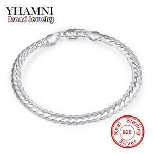 Wholesale silve jewelry resale online - YHAMNI Original Real Sterling Silve Bracelet Silver Tone bracelet Customized Mens Jewelry Have S925 Stamp H199