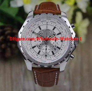 Wholesale New MENS WATCH quartz chronograph white spuer big mm the essence of britain limited men watches number leather band wrist watc