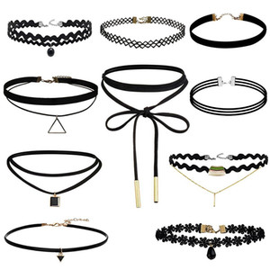 Wholesale New Necklace Fashion Vintage Stretch Pearl Velvet Choker Necklace Gothic Punk Grunge s s Black Velvet Tattoo Necklace Chokers WX N31