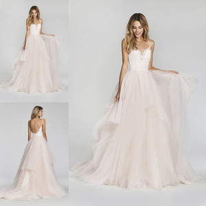 Wholesale buy gold china for sale - Group buy Blush Pink Backless Wedding Dresses Modest Robe De Mariee Spaghetti Straps A Line Custom Made Bridal Gowns Buy From China