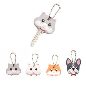 Wholesale Lychee Cute Mouse French Bulldog Shape PVC Key Cover Cap Key Chain Rubber Key Ring