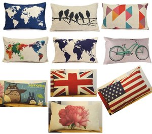 Wholesale Whlesale Pillow Case CM Rectangle pillow case cover World map pattern retro cushion pillowslip cover throw waist style