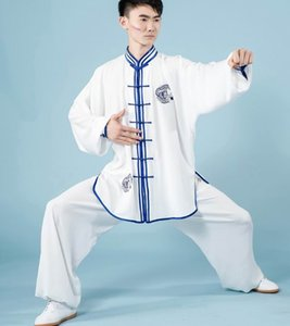 Wholesale dragon arts for sale - Group buy Blue and white porcelain Cotton and silk dragon peony embroidery tai chi martial arts boxing practice suit