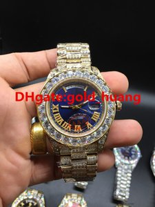 Wholesale 2017 NEW Luxury mm Big diamond Mechanical man watch Multi color dial All diamond band Automatic Stainless steel men s watches Blue