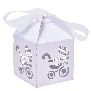 bebé bomboniere al por mayor-Party Gift Holder Baby Shower Candy Cajas con Ribbon Carriage Shape Shower Favor caja para Bomboniere Wedding Anniversary