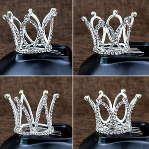 Wholesale comb crowns resale online - Hot Sale Kid Girls Hair Comb Glitter Crystal Rhinestone Twinkle Princess Crown Tiara Flower Girl Wedding Birthday Prom Party Hair Accessory