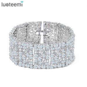 Wholesale LUOTEEMI New Big Luxurious Jewelry Full Shining Cubic Zircon White Gold Color Link Chain Bracelet for Women Wedding Bangle