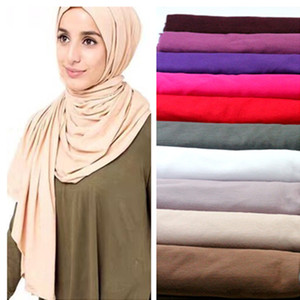 Wholesale solid cotton shawls scarves for sale - Group buy colors women s cotton hiajb shawl big size solid color scarf muslim hijab cap jersey handkerchief