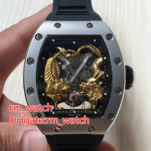 Wholesale Barrel type fashion luxury men s watch brand automaitc stainless steel tiger fight dragon face wristwatch waterproof watches