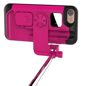 caja del teléfono palo selfie al por mayor-Estuche portátil Bluetooth Selfie Stick para iPhone Funda plegable Estiramiento de mano Bluetooth Obturador de teléfono para iPhone Plus