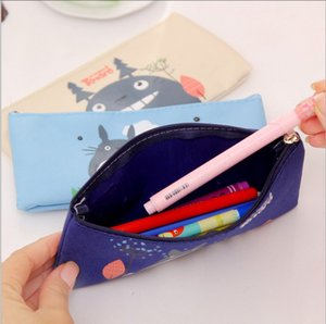 Wholesale Totoro Pencil Case Panda School Boys Kawaii Bag Pouch Canvas Cartoon Cute Cases Bags Leather or Pens Stationery Kawaii