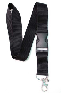 Hot Sale! 10pcs Popular Solid Black Neck Lanyard Strap , Badge ID , Detachable Keychain ,Cell Holder New