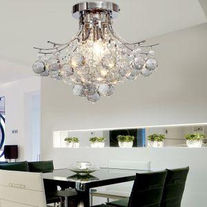 Crystal Ceiling Light Hanging Light Crystal Chandelier Lamps Pendent Lights Chrome Finish Chandelier with 3 Bulbs Flush Mount Lights