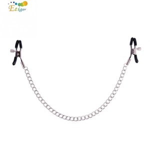 Wholesale Sexy Nipple Clamps Chain Set Masturbation Clamps With Stainless Steel Chain Breast Clamp Sex Toy size Adjustable