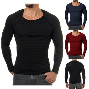 Wholesale New Men Knitted Basic Sweater Fashion Brand Clothing Men's Striped Sweaters Solid Color Slim Fit Men Pullover For Autumn Winter
