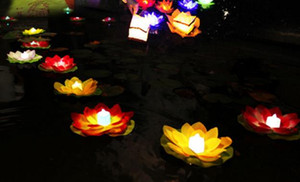 Waterproof silk lotus candle lamp pray Wishing floating water wishing lanterns for birthday wedding party Valentine's Day decorative lights on Sale