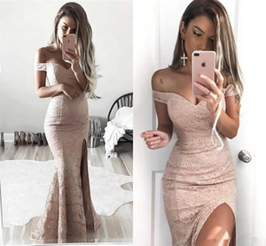 Wholesale Sexy 2018 Off-Shoulder Full Lace Mermaid Evening Dresses High Side Split Formal Pageant Prom Dress Long Party Gown